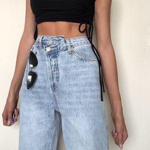Princess Polly Holly Asymmetrical blue jeans, US 6